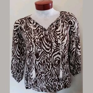 Lilly Pulitzer Womens Blouse Brown Zebra Print